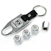 Dodge Ram Silver Logo Chrome ABS Tire Valve Stem Caps & Key Chain