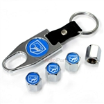 Dodge Viper Blue Logo Chrome ABS Tire Valve Stem Caps & Key Chain