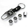 Dodge Ram Black Logo Chrome ABS Tire Valve Stem Caps & Key Chain