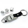 Jeep Silver Logo Chrome ABS Tire Valve Stem Caps & Key Chain