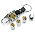 Chrysler Gold Logo Chrome ABS Tire Valve Stem Caps & Key Chain