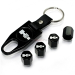 Hummer H3 Logo Black ABS Tire Valve Stem Caps & Key Chain