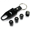 Plymouth Prowler Logo Black ABS Tire Valve Stem Caps & Key Chain