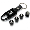 Chrysler PT Cruiser Logo Black ABS Tire Valve Stem Caps & Key Chain