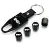 Hummer H2 Silver Logo Black ABS Tire Valve Stem Caps & Key Chain