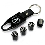 Acura Black A Logo Black ABS Tire Valve Stem Caps & Key Chain