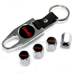 GMC Red Logo Chrome ABS Tire Valve Stem Caps & Key Chain