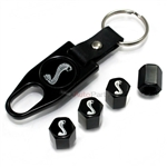Ford Mustang Cobra Snake Logo Black ABS Tire Valve Stem Caps & Key Chain