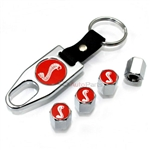 Ford Mustang Logo Cobra Snake Chrome ABS Tire Valve Stem Caps & Key Chain