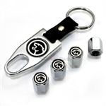 Mercury Cougar Black Logo Chrome ABS Tire Valve Stem Caps & Key Chain