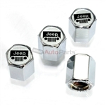 Jeep Silver Grille Logo Chrome ABS Tire Valve Stem Caps