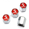 Chrysler PT Cruiser Red Logo Chrome ABS Tire Valve Stem Caps