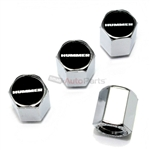 Hummer Black Logo Chrome ABS Tire Valve Stem Caps