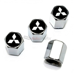 Mitsubishi Silver Star Logo Chrome ABS Tire Valve Stem Caps