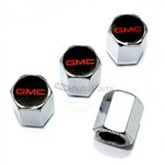 GMC Red Logo Chrome ABS Tire Valve Stem Caps