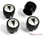 Pontiac Silver Logo Black ABS Tire Stem Valve Caps