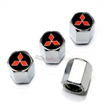 Mitsubishi Red Star Logo Chrome ABS Tire Valve Stem Caps