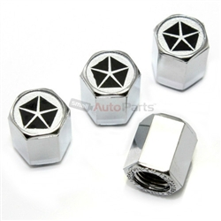 Chrysler Pentastar Dodge Plymouth Logo Chrome ABS Tire Valve Stem Caps