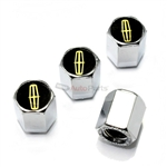 Lincoln Gold Logo Chrome ABS Tire Valve Stem Caps
