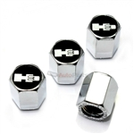 Hummer H3 Black Logo Chrome ABS Tire Valve Stem Caps