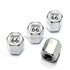 Route 66 Silver Logo Chrome ABS Tire Valve Stem Caps