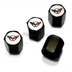 Chevrolet Corvette C5 Logo Black ABS Tire Valve Stem Caps