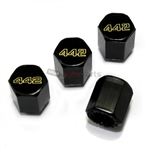 Oldsmobile 442 Black Logo Black ABS Tire Valve Stem Caps