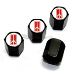 Oldsmobile Red Logo Black ABS Tire Valve Stem Caps