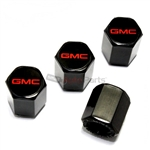 GMC Red Logo Black ABS Tire Valve Stem Caps