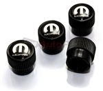 Mopar Logo Black ABS Tire Stem Valve Caps