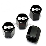 Hummer H3 Silver Logo Black ABS Tire Valve Stem Caps