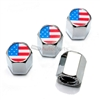 American Flag Logo Chrome ABS Tire Valve Stem Caps
