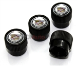 Cadillac Clear Logo Black ABS Tire Stem Valve Caps