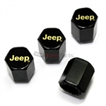 Jeep Gold Logo Black ABS Tire Valve Stem Caps