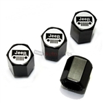 Jeep Silver Grille Logo Black ABS Tire Valve Stem Caps