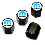 Mopar Blue Logo Black ABS Tire Valve Stem Caps