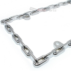 Chain Links Chrome Metal License Plate Frame