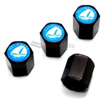 Plymouth Blue Logo Black ABS Tire Valve Stem Caps