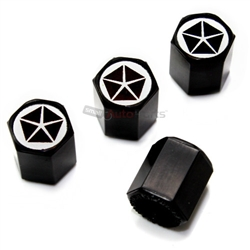 Chrysler Pentastar Dodge Old Logo Black ABS Tire Valve Stem Caps