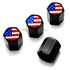American Flag Logo Black ABS Tire Valve Stem Caps