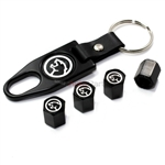 Mercury Cougar Logo Black ABS Tire Valve Stem Caps & Key Chain