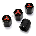 Mitsubishi Red Logo Black ABS Tire Valve Stem Caps