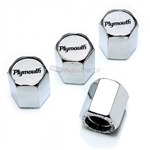 Plymouth Logo Chrome ABS Tire Valve Stem Caps