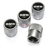 BMW Black Logo Silver ABS Tire Stem Valve Caps