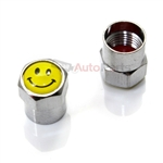 Smiley Face Metal Chrome Tire Valve Stem Caps