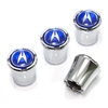 Acura Blue Logo Chrome Tire Valve Stem Caps