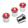 Acura Red Logo Chrome Tire Valve Stem Caps
