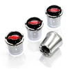 Chevy Red Logo Chrome Tire Valve Stem Caps