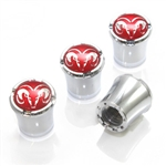 Dodge Red Logo Chrome Tire Valve Stem Caps