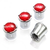 GMC Red Logo Chrome Tire Valve Stem Caps